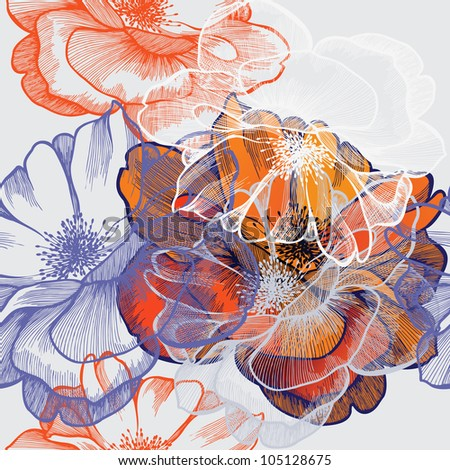 Seamless abstract floral background with roses, hand-drawing. Vector.