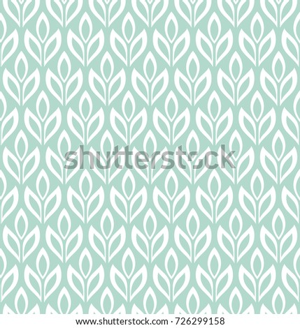 Seamless abstract floral pattern. Blue and white background. Geometric leaf ornament. Stylish graphic design