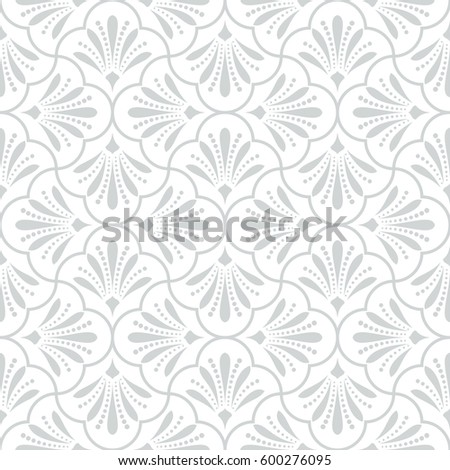 Seamless abstract floral pattern. Modern vector graphic. Grey and white background. Geometric leaf ornament