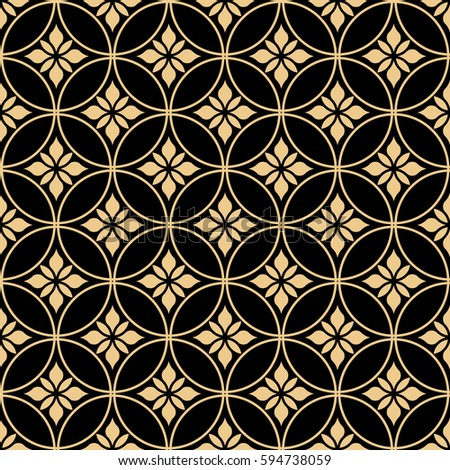 Seamless abstract floral pattern. Vector background. Gold and black ornament. Graphic modern pattern.