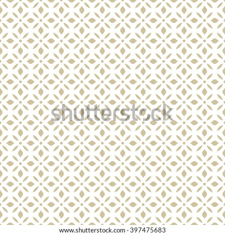 Seamless abstract floral pattern. Vector gold and white background. Geometric leaf ornament