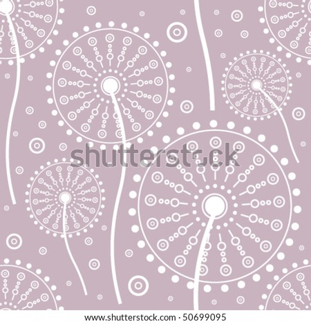 Seamless abstract flower pattern with dandelion