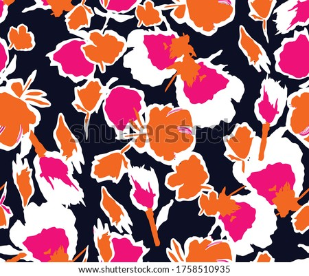 Seamless abstract flowers pattern. Vector colorful pattern for fashion and interior design. Flat flowers pattern in navy pink orange and white colors. Fashionable geometric floral pattern.