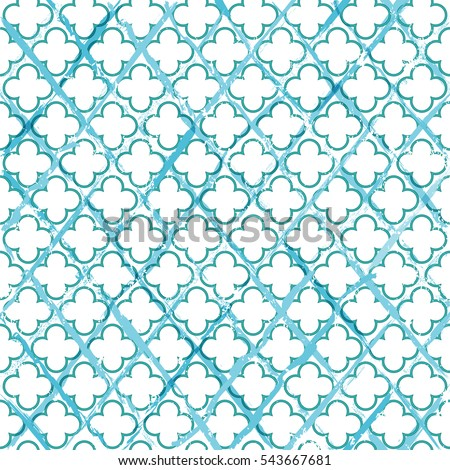 seamless abstract geometric pattern background, with quatrefoil, strokes and splashes