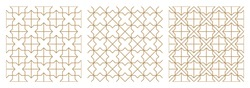 Seamless abstract geometric pattern based on traditional arabic art.Brown average lines.A set of three patterns.