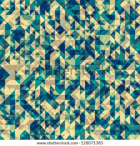 Seamless abstract geometric pattern with triangles and grungy noise, vector illustration