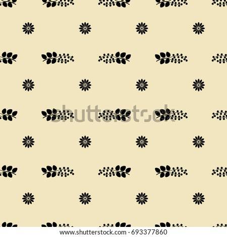 Seamless abstract geometrical pattern with floral motifs. Black silhouettes on light yellow background.