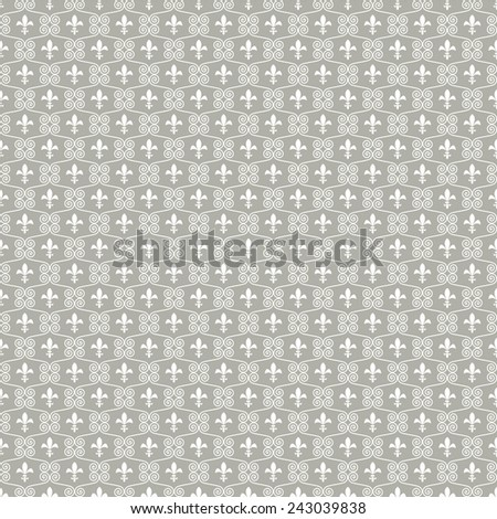 Seamless abstract gray background of the royal lilies and scroll.Vector