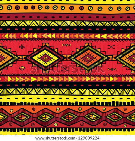 seamless abstract hand-drawn ethno pattern, tribal