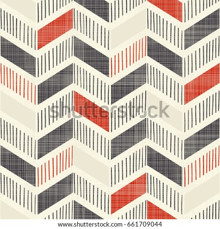 Seamless abstract hand drawn pattern. Chevron pattern in doodle on texture background can be used for ceramic tile, wallpaper, linoleum, textile, wrapping paper, web page background. Vector - Shutterstock ID 661709044