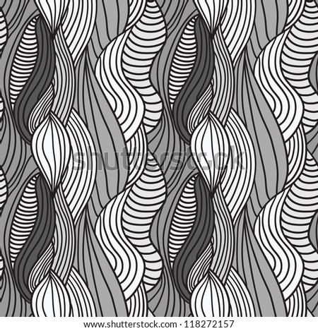 Seamless abstract hand-drawn vector pattern, waves hair background