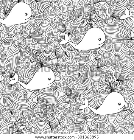 Seamless abstract hand-drawn waves pattern. Zentangle whale background.