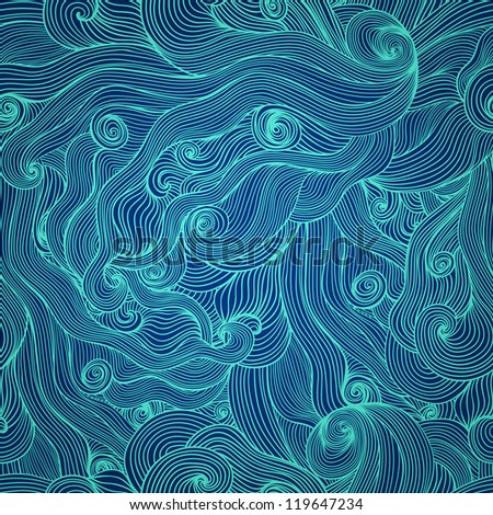 Seamless abstract hand-drawn waves texture, wavy background. Seamless pattern can be used for wallpaper, pattern fills, web page background, surface textures. Detailed waves seamless background