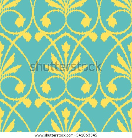Seamless abstract leaf and flower ornament pattern #541063345