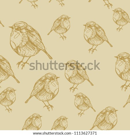 Seamless abstract monochrome pattern with silhouettes of songbird robin. Hand drawn linear pen sketch. Vintage style.