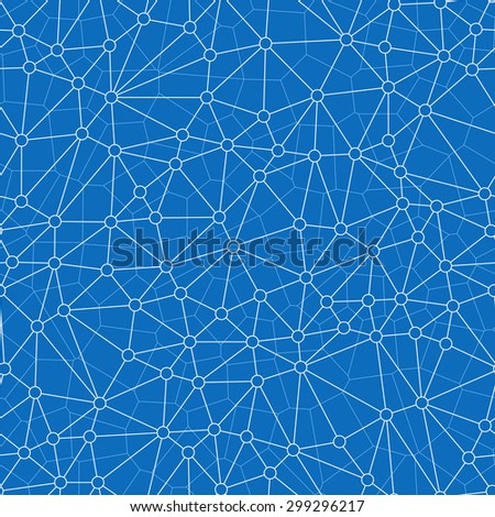 Seamless Abstract Network Pattern with Lines Connecting Hollow Dots, And The Plane is Partitioned into Adjacent Polygon in Lighter Color.
