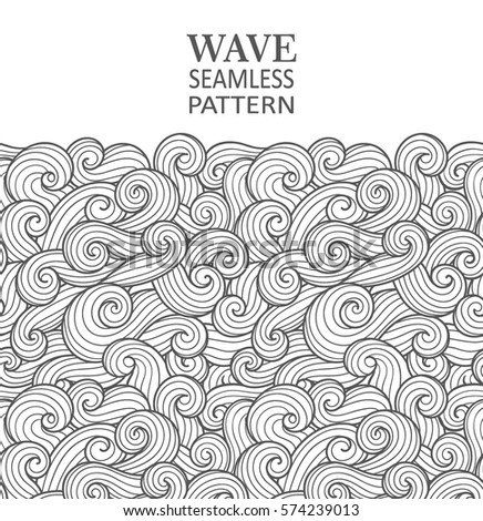 Seamless abstract pattern. Curly waves and spirals. Vector illustration. The swell on the sea. Ocean. Border ornament.