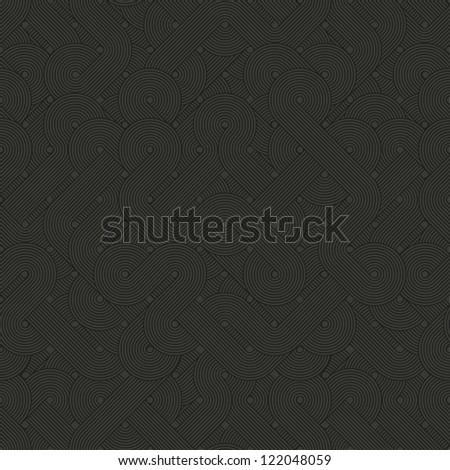 Seamless abstract pattern. Dark twisted lines. Vector illustration