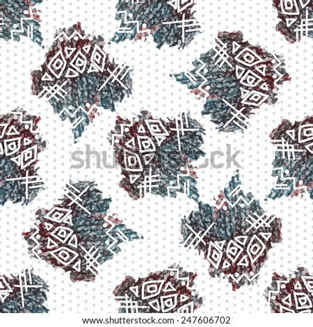 Seamless abstract pattern in ethnic style, drawing, colored pencil.