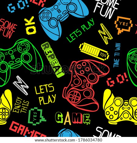 seamless abstract pattern in pixel game style. With dice, words, for boys. Textiles, print, t-shirts, web