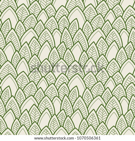 Seamless abstract pattern. Vector illustration with leaves.