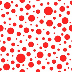 Seamless abstract pattern with circles and dots of red color. Kaleidoscope background. Decorative wallpaper, good for printing. Vector illustration.
