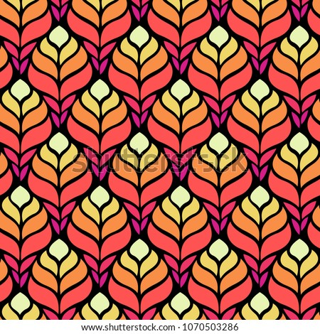 Seamless abstract pattern with colorful flowers. Vector illustration with leaves.