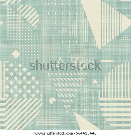 Seamless Abstract pattern with geometric elements on texture background. Endless geometric pattern can be used for ceramic tile, wallpaper, linoleum, textile, wrapping paper, web page background.