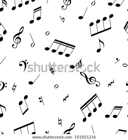 Seamless abstract pattern with music symbols. Vector illustration.