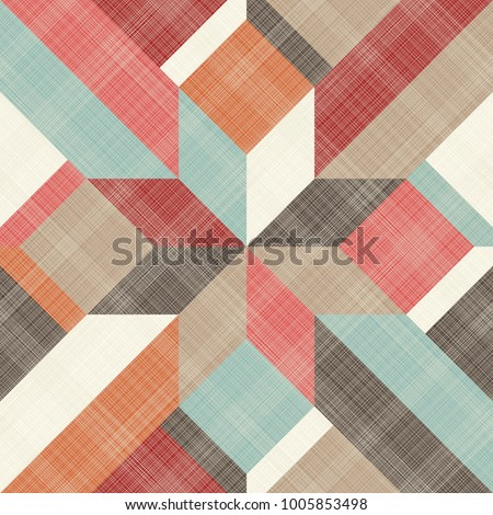 Seamless abstract pattern with patchwork in retro colors on texture background. Can be used for ceramic tile, wallpaper, linoleum, textile, invitation card, wrapping, web page background