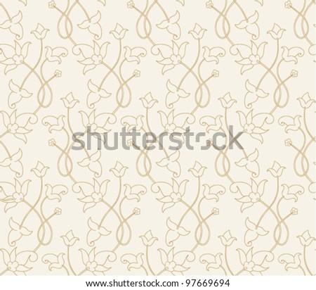 Seamless abstract pattern with vintage simple curls element