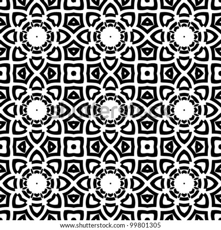 Seamless abstract retro floral black and white pattern background vector illustration