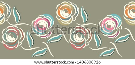 Seamless abstract rose flower border