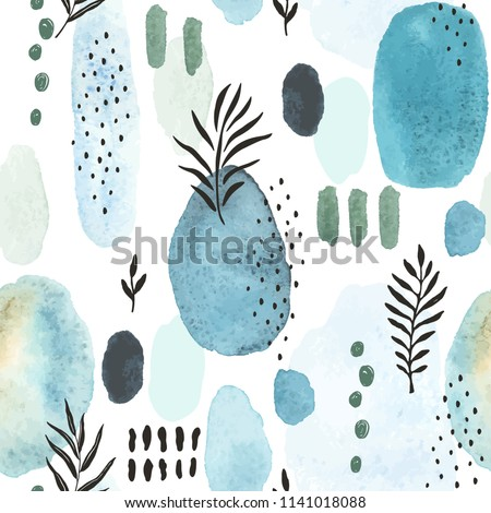 Seamless abstract texture with watercolor spots, doodle branch and dots. Vector handmade illustration on white background.