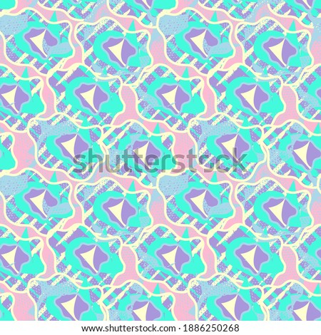 Seamless abstract unusual pattern with hand drawn unique shapes