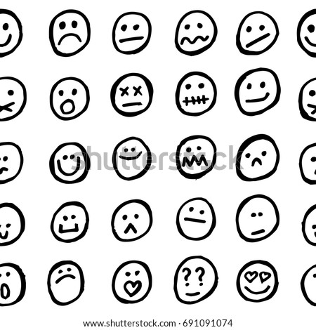 Seamless abstract vector funny pattern. Black hand drawn linear silhouettes of funny and cute smiley faces put symmetrically on white background. Gift wrapping paper. Bed sheets and interior.