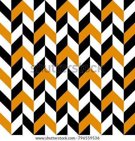 Seamless abstract vector geometric pattern. Black, white and orange zigzag ornament. Optical view. Symmetrical layout. Gift wrapping paper. Bed sheets and interior.