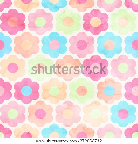 Seamless Abstract Watercolor Flower Background Pattern. Painted