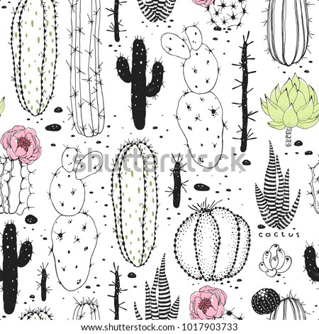 Seamless abstraction pattern of cactuses. Vector doodle illustration black, green and pink colors on white background.
