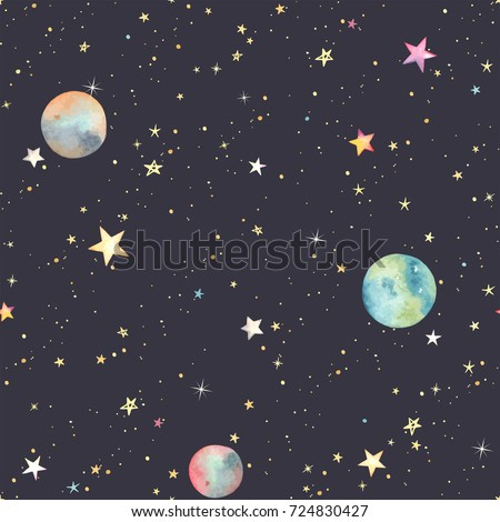 Seamless abstraction pattern with colorful stars and planets, vector cosmos illustration on dark background in watercolor style.