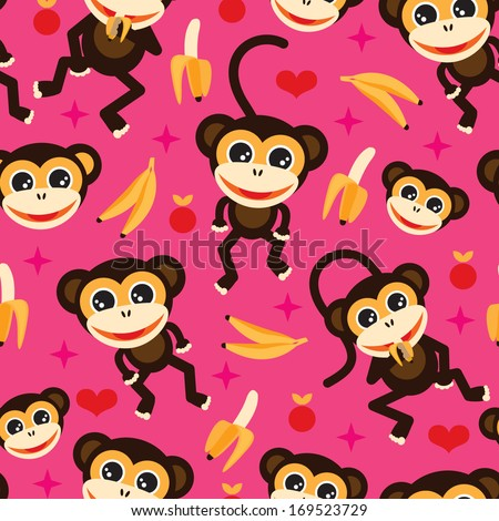 seamless adorable kids monkey