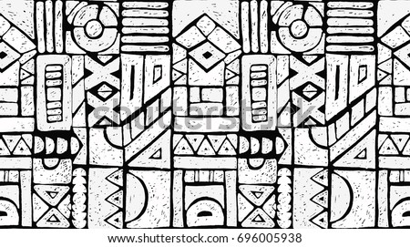 Seamless African pattern. Ethnic ornament on the carpet. Aztec style. Figure tribal embroidery. Indian, Mexican, folk pattern. - Shutterstock ID 696005938