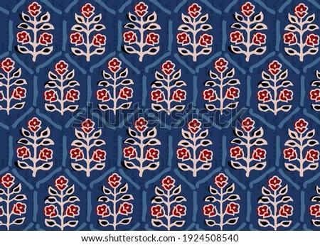 seamless ajrakh paisley bunch pattern blue background