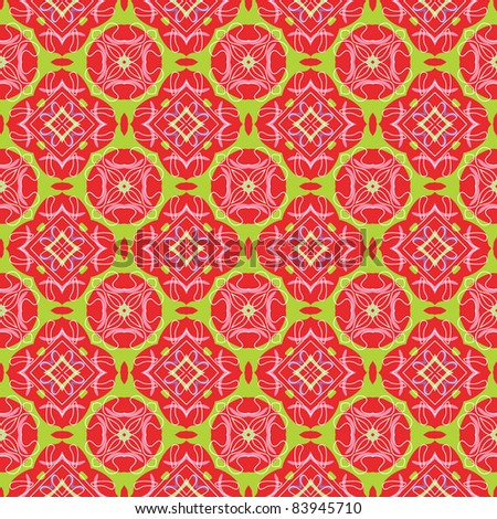 Seamless and elegant Baroque pattern with flowers in pink, red, green