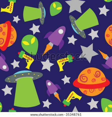 Seamless and fully repeatable space themed background, with aliens, spaceships, UFO's, stars, planets and ray guns.