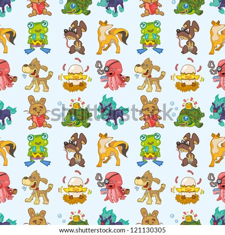 seamless animal pattern,cartoon vector illustration