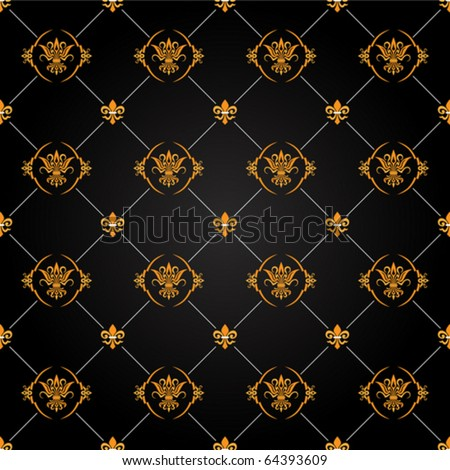 seamless antique black and gold pattern