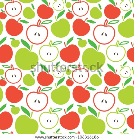 Seamless apple background - vector pattern