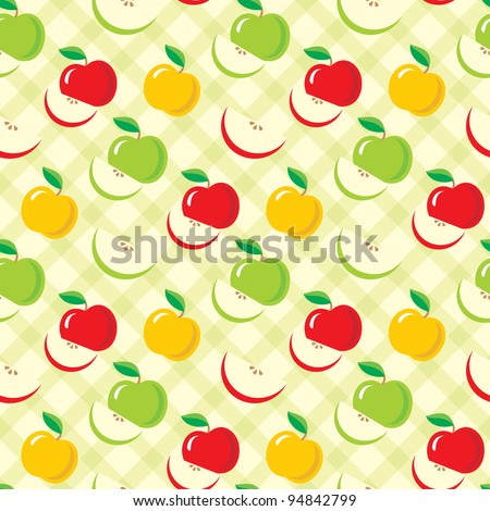 Seamless apples pattern. vector