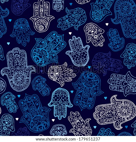 Seamless arabic hamsa hand of fatima illustration background pattern in vector